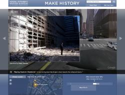 A man staring down Washington street, showing the double-exposure of past and present on 911history.org